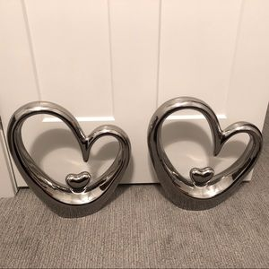 2 Silver Heart Decorative Pieces